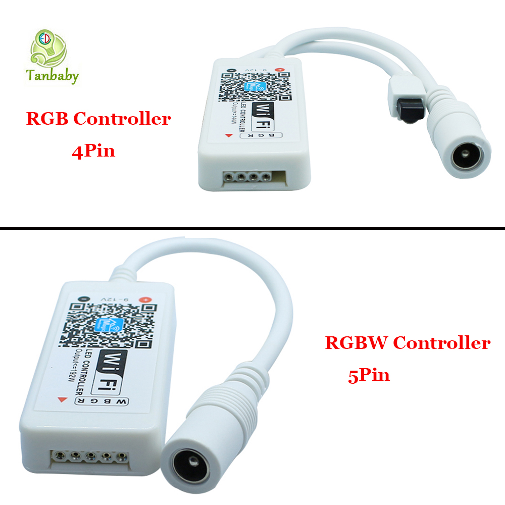 Tanbaby DC9-12V Mini Wifi LED Controller RGB RGBW control dimmer with 24 Key Remote controller for RGB / RGBW LED Strip