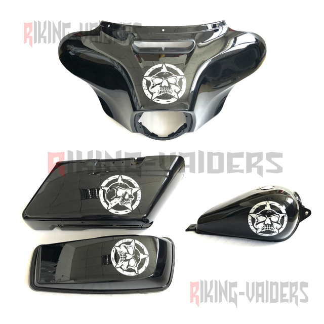 US $20 0  Star Skulls Decals Fairing Sthckers Fuel Tank Sticker Saddlbag  Decal For Harley Touring Ultra Electra Glide Street Glide Road Ki-in Decals  &