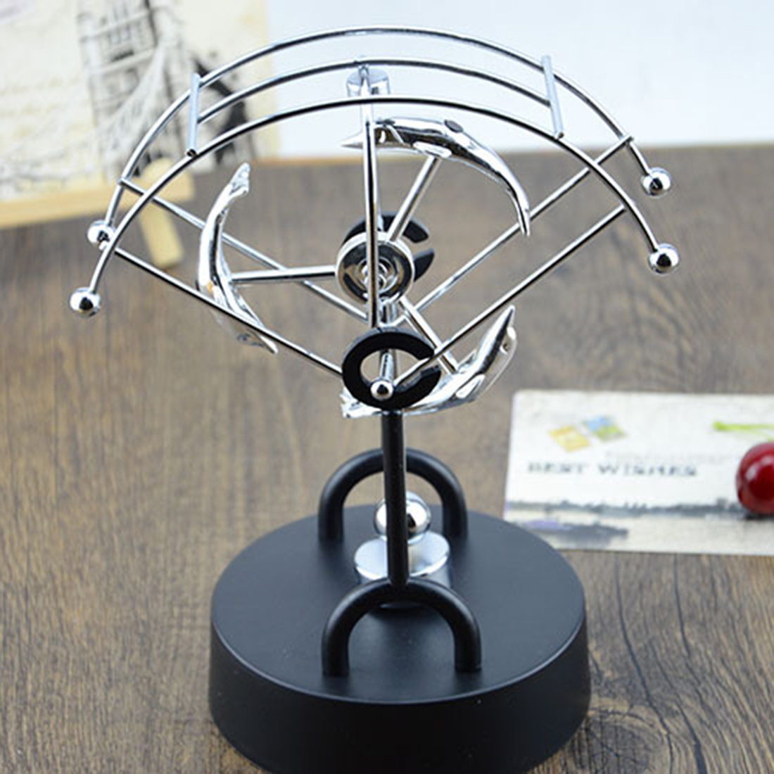 Creative Science Educational Decoration Parachute Sector Rocker Perpetual Motion Crafts Office Desk Home Decoraction Toy For Kid