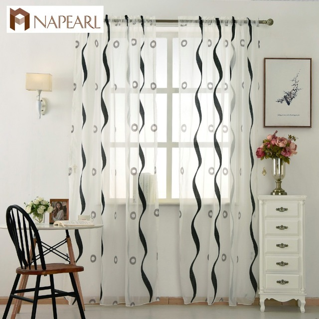 Modern Tulle Curtain Striped Circle Design Voile White Sheer Panel Black Living Room Bedroom Window Door Short Curtains