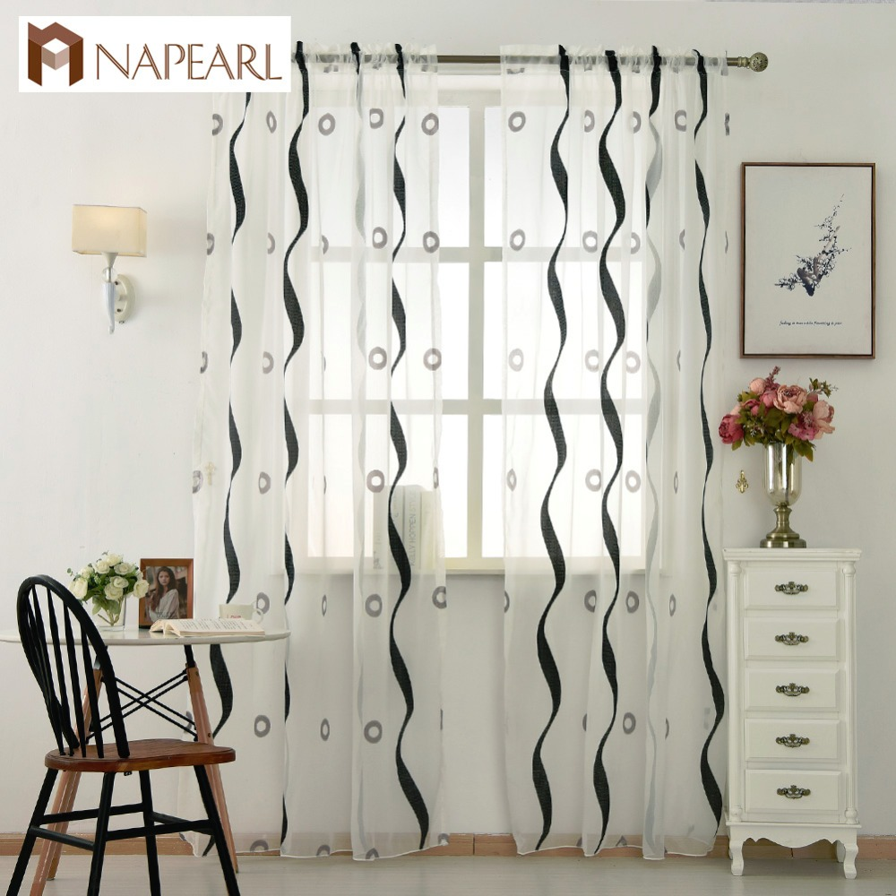 Modern Tulle Curtain Striped Circle Design Voile White Sheer Panel Black  Living Room Bedroom Window Curtain Door Short Curtains