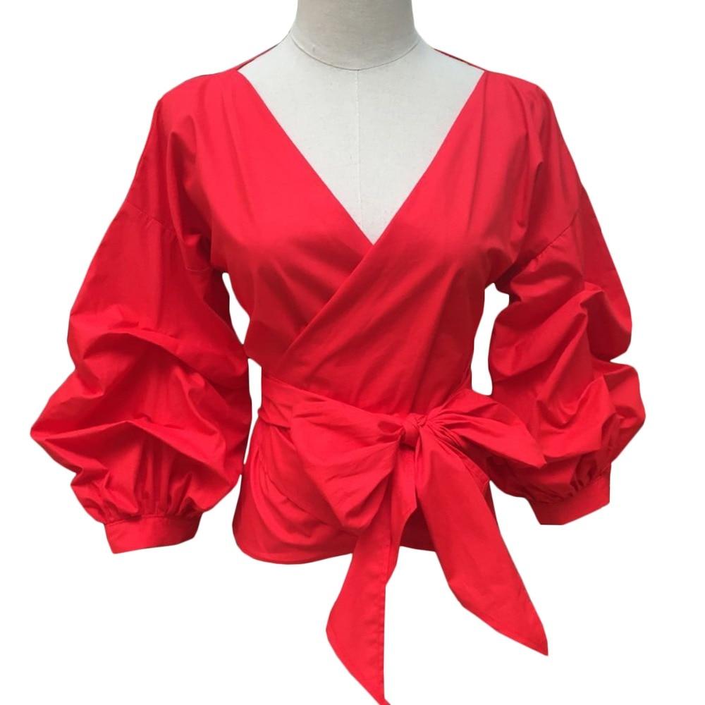 European Style Long Puff Sleeve Shirts Women Sexy V Neck -2982