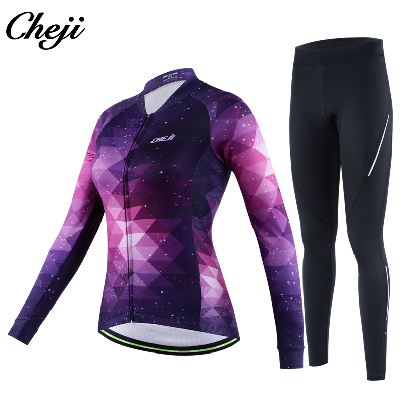 CHEJI Women's Long Sleeve Bike Set Quick dry Starry Sky Pattern Cycling Jersey Pro Team Breathable Bicycle Wear Racing Clothes round neck long sleeve 3d fierce bear starry sky print sweatshirt