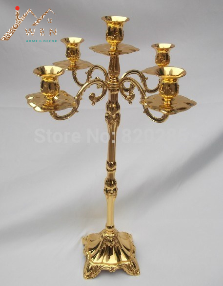 Whole Price Gold Finish 5 Arms Height Floor Candelabra 63cm Wedding Candle Holder Zinc Alloy