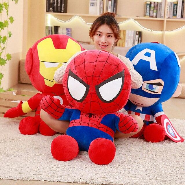 28-65 cm de Pelúcia Macia Super Herói Capitão América Homem De Ferro Homem Aranha De Pelúcia Brinquedos The Avengers Filme Dolls para presente de Aniversário para crianças