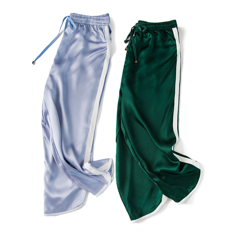 Женские брюки, 19 мм, 100%, натуральный шелк, сатин, зеленые, с высокой талией, штаны, OL, длина до середины икры, брюки, 2019, для офиса, леди, весна, ле... - 3