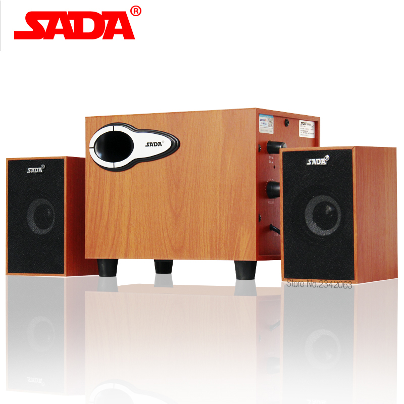 SADA New wooden combination speaker notebook speaker 2.1 channel computer speaker Subwoofer bass speaker For Free Shipping
