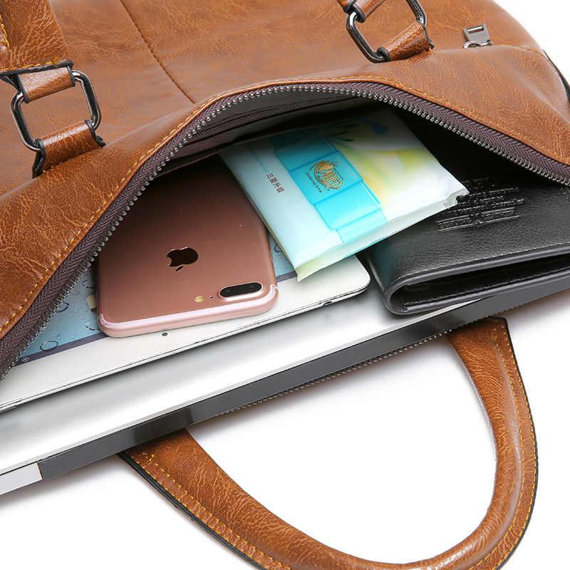 Znany projektant JEEP BULUO marki mężczyźni walizka biznesowa PU skórzane torby na ramię dla 13 Cal torba na laptopa duża torba podróżna 6013