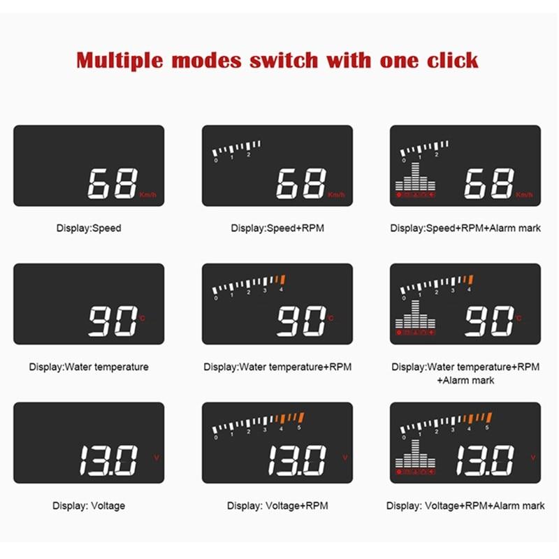 Image 2 - GEYIREN 2019 X5 OBD2 Head Up Display Speedometer Windshield Projector RPM Speed Alarm Car EU OBD HUD Display Auto Electronic-in Head-up Display from Automobiles & Motorcycles