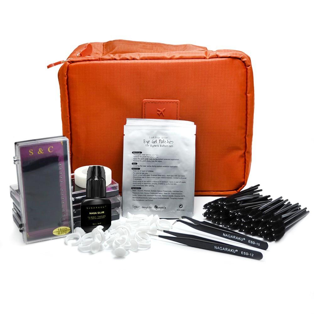 Nuevo profesional portátil Kit de extensión de pestañas falsas pestañas cosmética set, kit de extensión de pestañas
