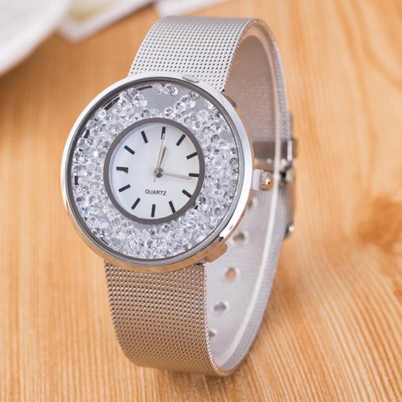 2018 Hot Sale Fashion Stainless Steel Rose Gold & Silver Band Quartz Watch Luxury Women Rhinestone Watches Valentine Gift