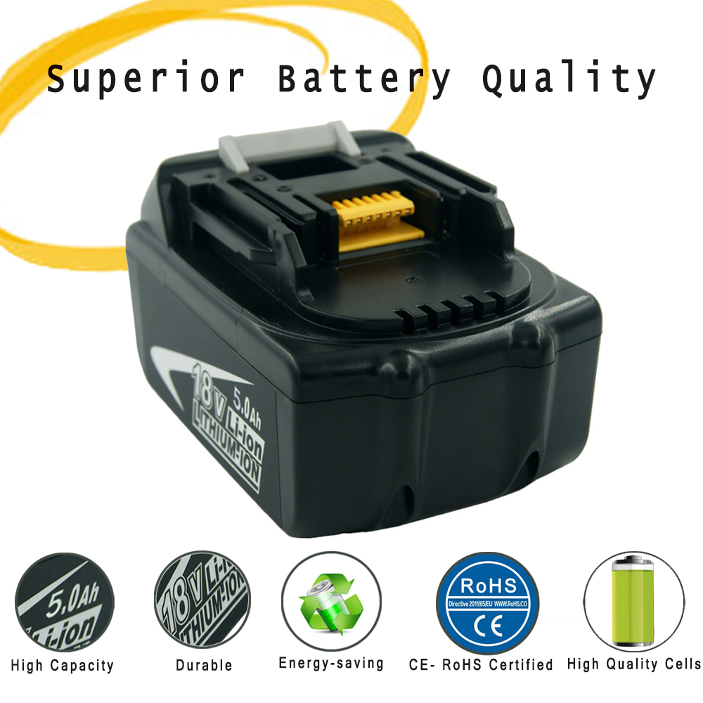 New Replacement 5.0Ah Lithium Batteries for Makita Power Tools LXT-400 194204-5 BHP452 BL1830 BL1840 BL1850 аккумулятор patriot 12v 1 5 ah bb gsr ni