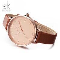 Shengke Top Brand Fashion Ladies Watches Leather Female Quartz Watch Women Thin Casual Strap Watch Reloj