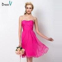 Dressv fuchsia junior strapless a line bridesmaid dress sleeveless knee length wedding party women pick ups bridesmaid dresses