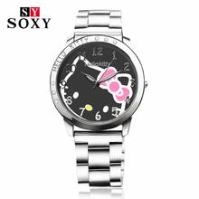 Hello Kitty Watch Full Steel Women Quartz WristWatch Cartoon Watches Cute Children Unique Crystal Designer Fashion Clock Relojes