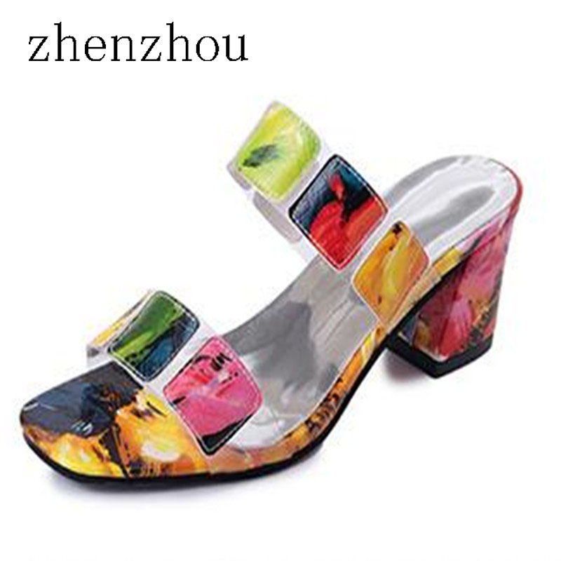Women s shoes 2017 summer brand sandals fish mouth ladies outdoor slippers color Roman shoes non