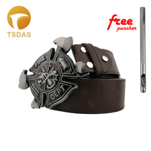 FD FIRE DEPT Metal Belt Buckle Suitable 3.8-4cm Wide Belt 79*79mm Red Zinc Alloy Belt Buckle Men Jeans accessories
