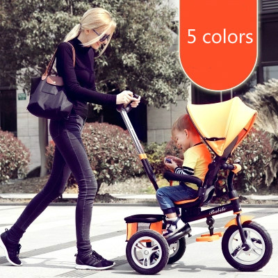 Children's folding three-wheeled baby stroller baby kid pedal carts bicycle inflatable wheels at the age of 1-3-5