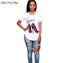 Summer Fashion T Shirt Women Short Sleeve O-Neck White Loose Tees Tops Knitted High heel Print Letter Female T-Shirts for women