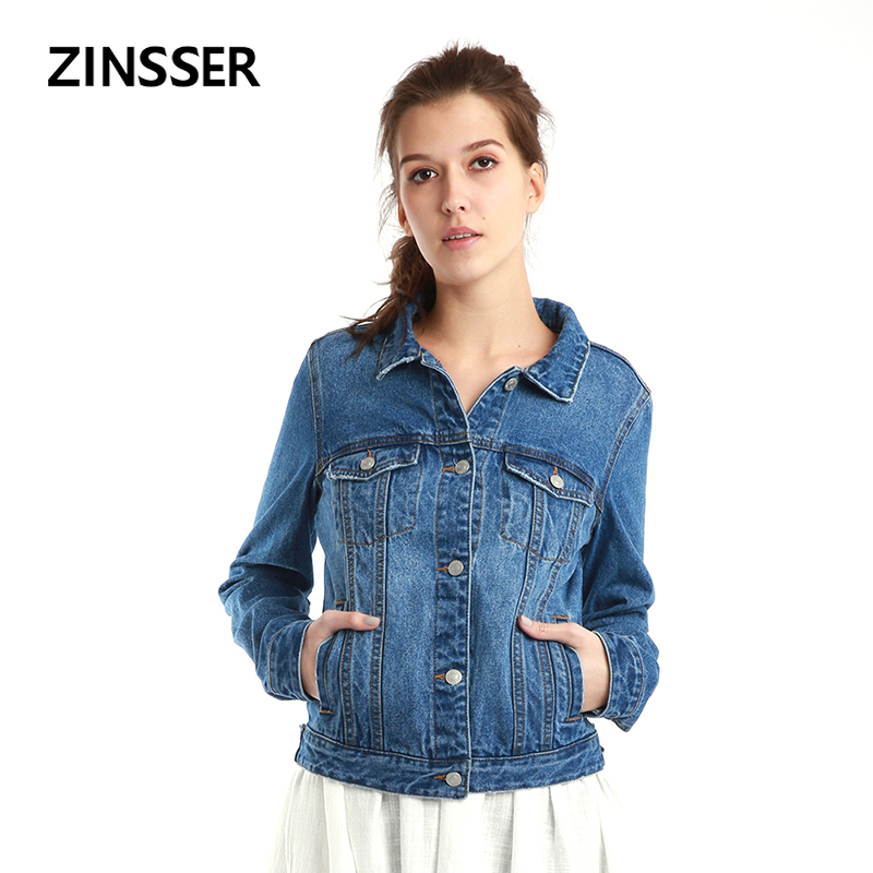 Women Denim   Basic     Jacket   Slim Casual Long Sleeve 100% Cotton Washed Blue Black White Female Lady Coat