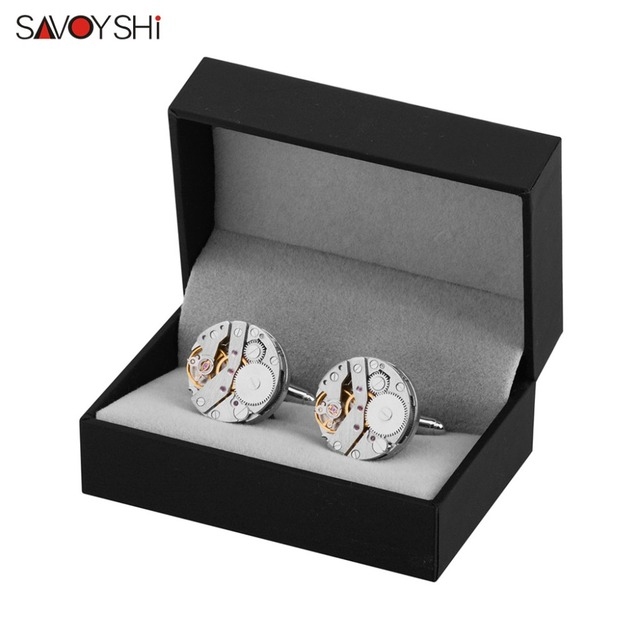 Savoyshi Mechanical Watch Movement Cufflinks Immovable Steampunk Gear Mechanism Cuff Links Mens Relojes Gemelos