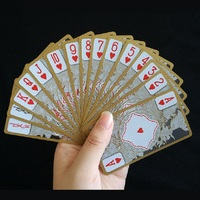 FGHGF High Quality Waterproof PVC Gold Edge Deck Transparent Playing Cards Dragon Novelty Collection Party Poker
