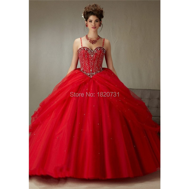 c8ca211a3 2016 Latest Ball Gown Red Quinceanera Dresses Beaded Draped Dress 15 Years  Sweetheart Party Gowns