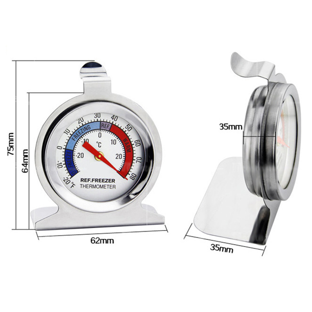 2018 High Quality Refrigerator Freezer Thermometer Stainless Steel Dial  Dail TypeType Fridge Temperature Measure Tool