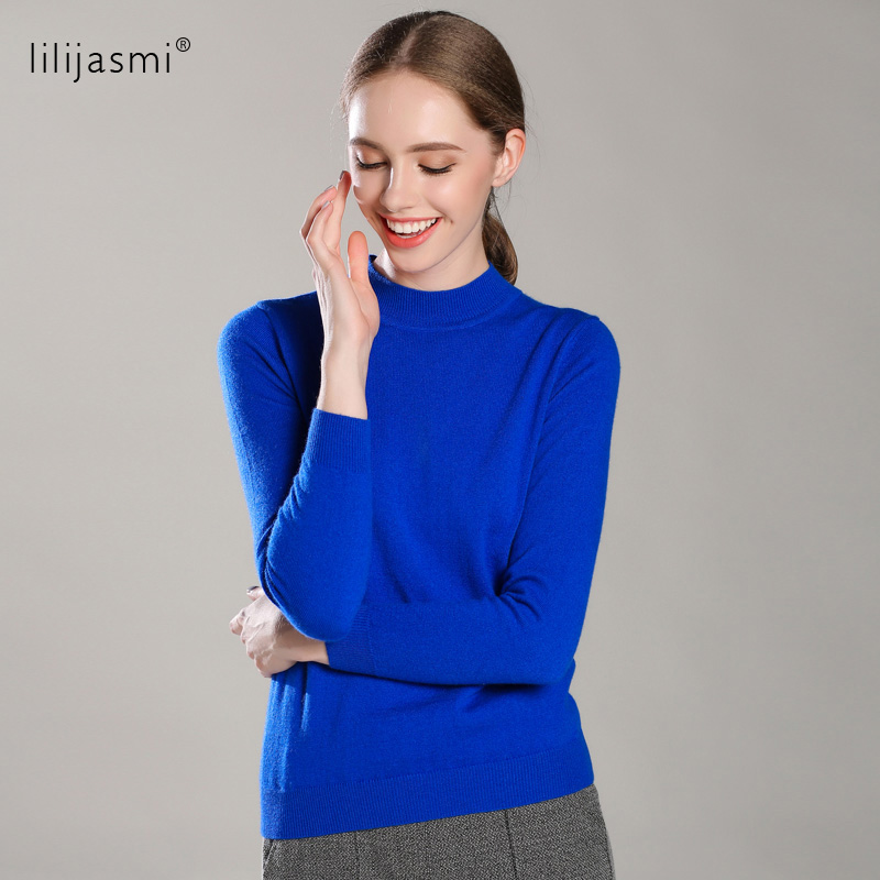 New Colors Women 100% Cashmere High O-neck Collar Pullover Sweater Solid Rib Turtleneck Sweaters Knit Top Female Jumper 4 Season