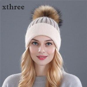 Image 1 - Xthree zimowa wełniana czapka z dzianiny czapka prawdziwa norka futro pompony czapka z czaszkami dla kobiet dziewczynki kapelusz feminino