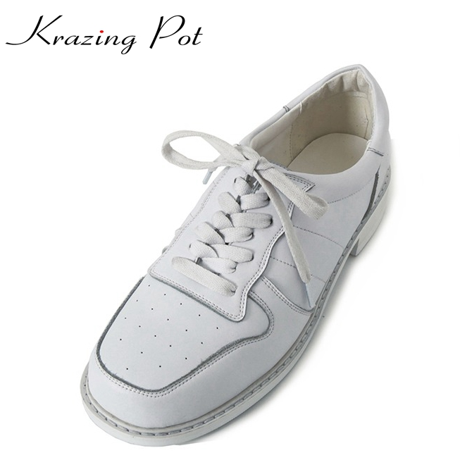 Krazing Pot fashion shoes woman full grain leather lace up square toe young lady low heels casual leisure white color shoes L16 стоимость