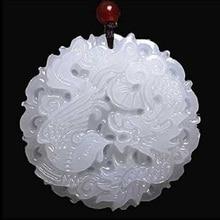 Дропшиппинг подвеска с белым нефритом Дракон и Феникс нефрит ожерелье подвеска удача нефрит ювелирные изделия
