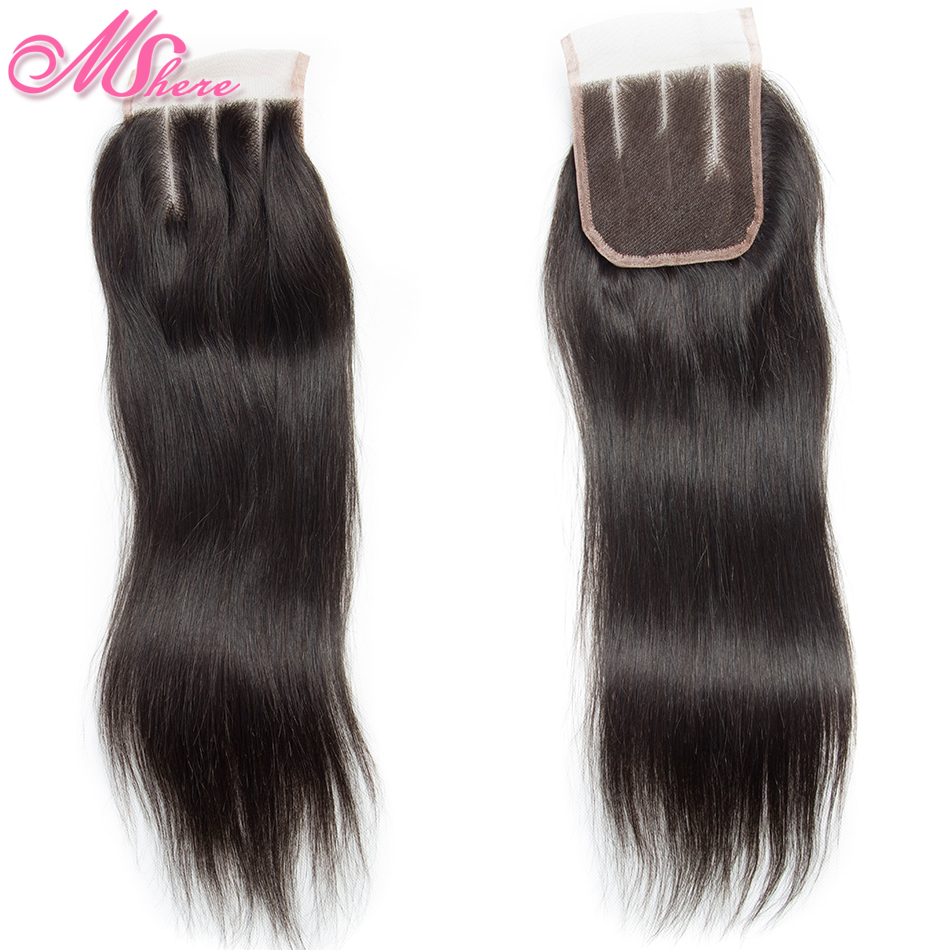 Mshere Hair Peruvian Straight Remy Hair Lace Closure 100% Human Hair Closure With Baby Hair 4*4 Free Part Natural Black Color