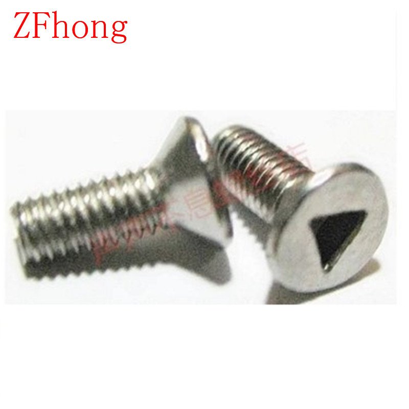 100pcs/lot M3/M4*6/8/10/12/16 Stainless Steel A2 Triangle drive Flat Head Anti-theft Screw, Flat Head triangle socket screw