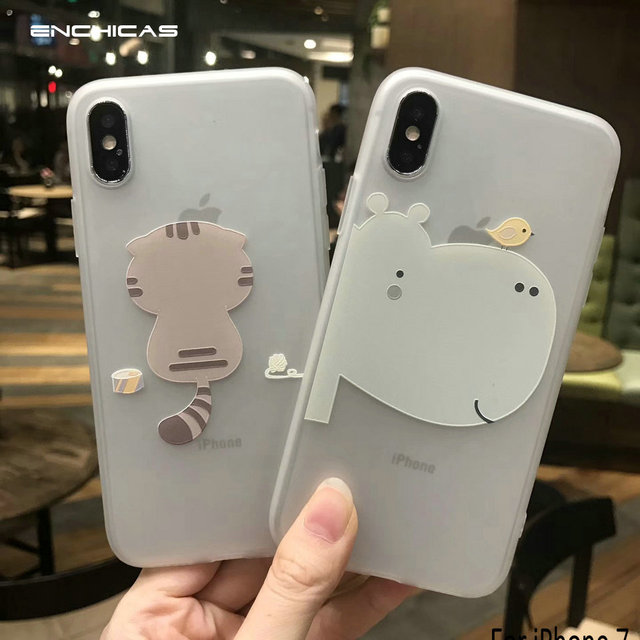 the best attitude d80c4 a356d US $4.99 |ENCHICAS Lovely 3D Cartoon Cat/Hippo Half Clear Designer Case For  iPhone X Soft TPU Shell Phone Cover Fundas Capa-in Half-wrapped Case from  ...