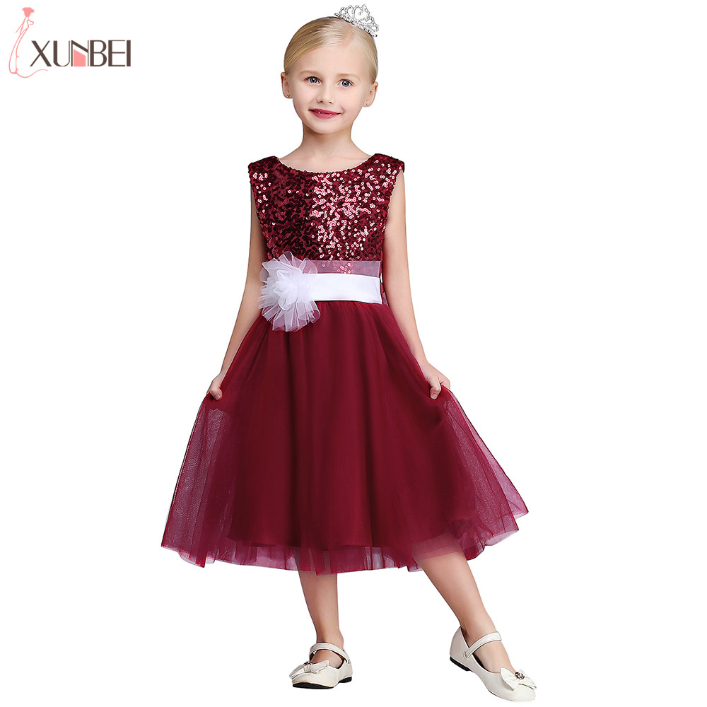 Real Photo Burgundy Tea Length   Flower     Girl     Dresses   2019 Tulle Sequined Communion   Dress   Appliqued Vest Pageant   Dresses   For Child