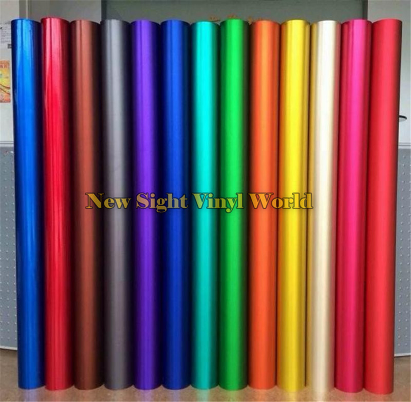 Best Quality Blue & Green & Red & Gold ICE Satin Chrome Car Vinyl Wrap Film Matte Chrome Vinyl Wrapping Bubble Free Car Wrapping 152cmx18m premium polymeric pvc light blue ice matte chrome vinyl film car styling wraps whole body stickers with air channel