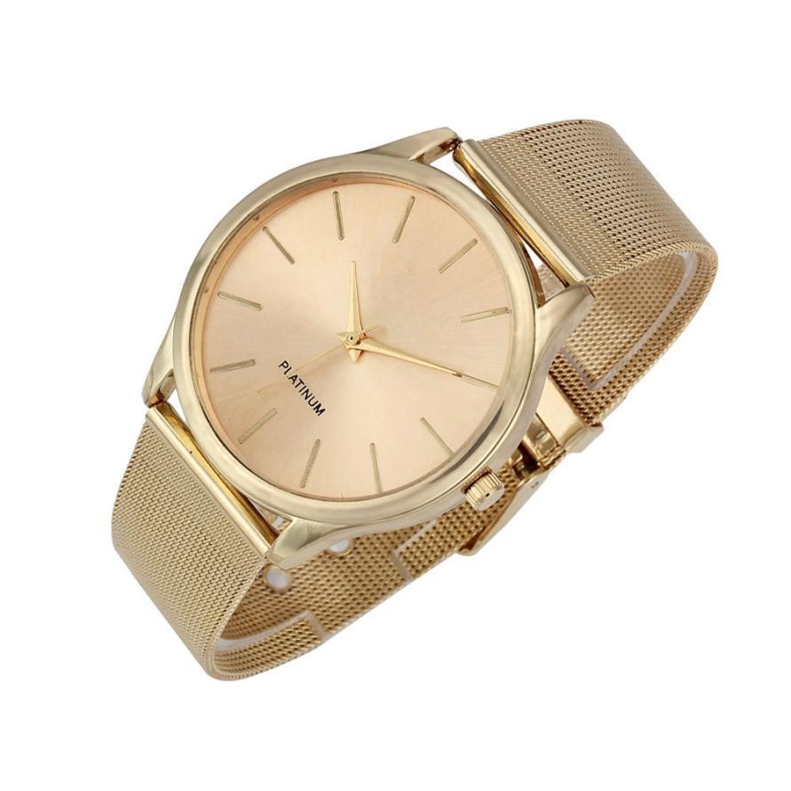 Üstün Yeni Moda Klasik Altın Kuvars Paslanmaz Çelik Bilek İzle - Kadın Saatler - Fotoğraf 3