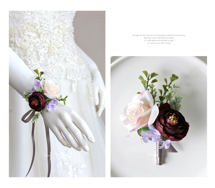 wedding boutonniere wrist corsage marriage  (2)