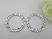 (BU04 35mm)100pcs round rhinestone buckle in silver plated without bar for wedding invirtation card