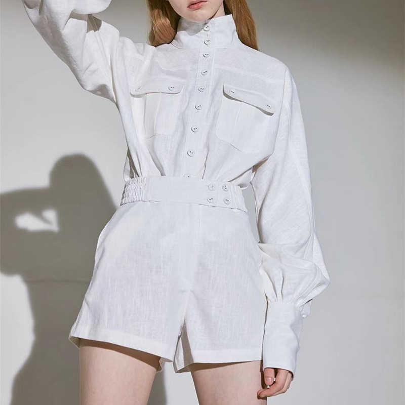 VGH 솔리드 한국어 두 조각 세트 여성 터틀넥 랜턴 긴 소매 탑스 여성을위한 Pocke 정장 패션 새로운 2019 가을