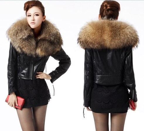 Online Shop Factory Women Sheepskin Genuine Leather Jacket Raccoon ...