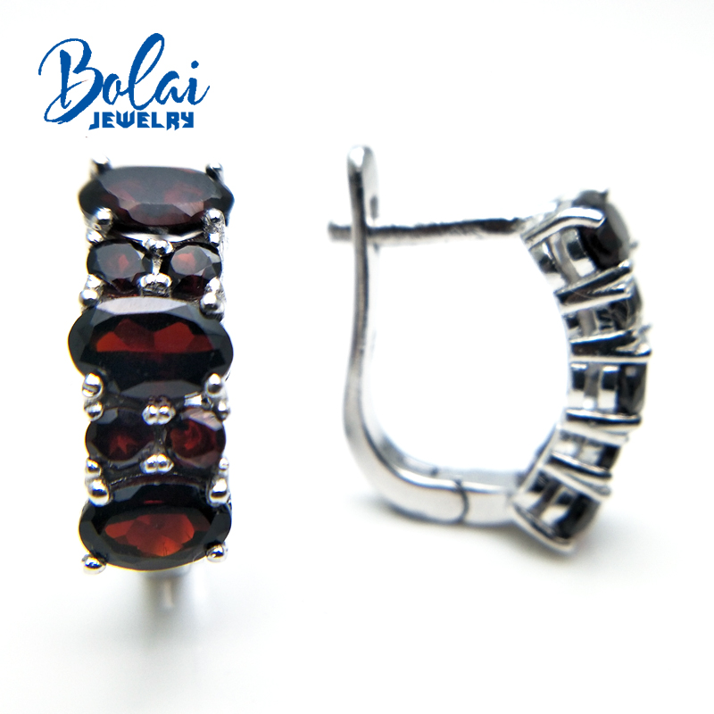 Bolaijewelry 2018 Hot new product Natural garnet gemstone clasp simple special earring 925 sterling silver fine