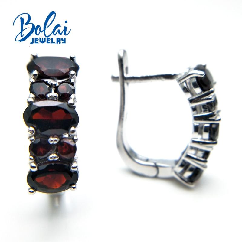 Bolaijewelry, 2018 뜨거운 신제품 자연적인 석류석 원석 걸쇠 간단한 특별한 귀걸이 925 순은 고급 보석 여자-에서귀걸이부터 쥬얼리 및 액세서리 의  그룹 1