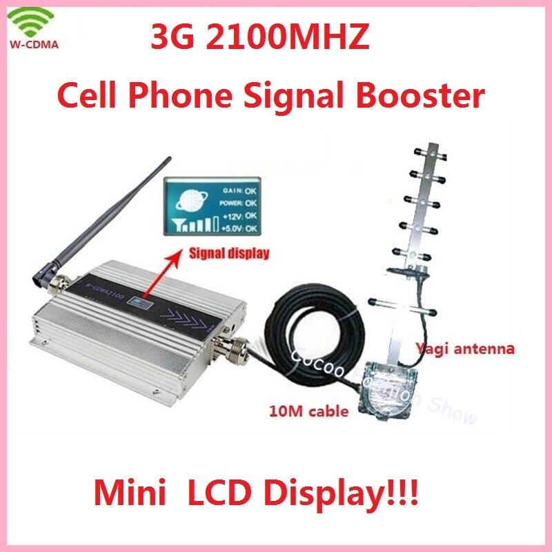 Handy 3g Repeater Signalverstärker, LCD Display WCDMA 2100 Mhz Zellulären Signalverstärker W-CDMA 3G Booster Verstärker + Antenne