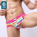 Cuecas para homens cuecas Nova 2016 de Alta Qualidade do Algodão dos homens Sexy Brifes Roupa Rainbow Stripes Homem Confortável Calcinha