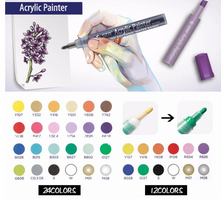 STA 12/24 Colors Acrylic Paint Marker Sketch Stationery Set For DIY Manga Drawing Marker Pen School Student Painter Supplies bianyo 20 colors artist sketch marker pen set for school student drawing painting brush pen watercolor manga marker art supplies