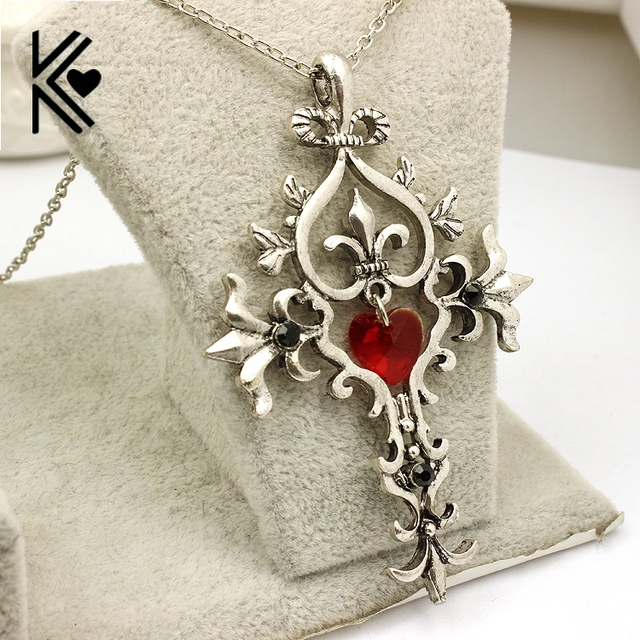 The vampire diaries vintage sacred heart cross statement necklace the vampire diaries vintage sacred heart cross statement necklace women and men crystal chain pendant necklace aloadofball Images
