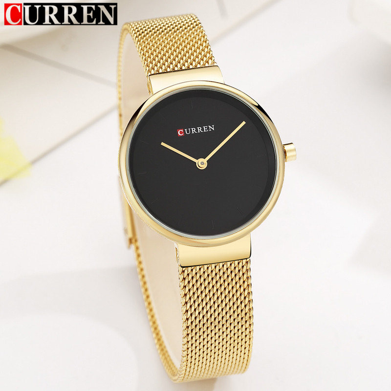relogio feminino Curren Women Watches Top Brand Luxury Gold Black Mesh Strap Ladies Quartz Watch Fashion Dress Watch For Womens