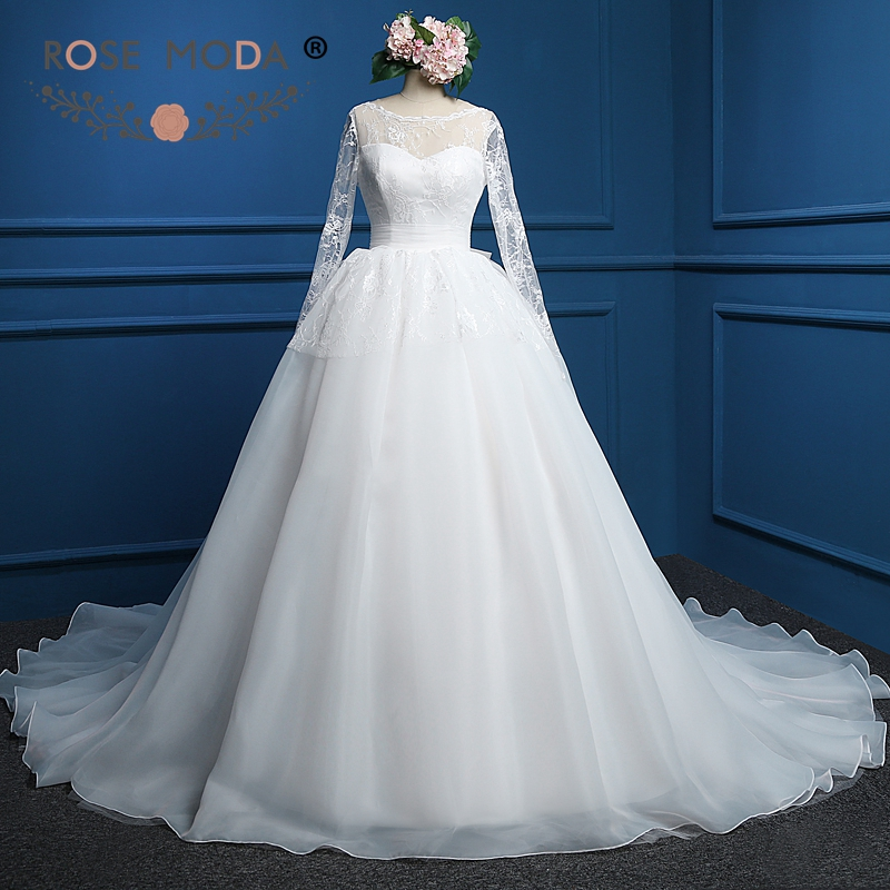 Aliexpress.com : Buy Rose Moda Long Sleeves Wedding Dress